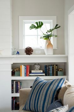 Bookcase Ideas. Family Room Bookcase. Fireplace flanked by bookcases. #Bookcase #FamilyRoom #Fireplace