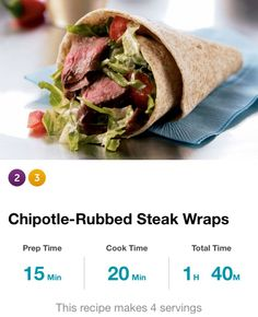 "Chipotle-Rubbed Steak Wraps: 1tbsp chopped chipotle chili peppers in adobo sauce, 1 1/4lb 1"" thick flank steak, 2 med chopped plum tomatoes, shredded lettuce, 1tbsp sour cream, 2tsp lime juice, 1/4tsp salt, 4 8"" whole wheat wraps. Rub chiles on steak, ziploc bag, rm temp 1 hr. Heat broiler & pan 10 min, steak in, cook 5 mins/side. Trans cut board, rest 5 mins, slice crx grain. Comb lettuce, tom, sour crm, lime jce & salt. Wraps in micro, div lettuce mix & steak, roll up. 360cal, 27g carbs…"