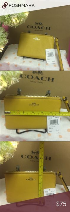 NWT Coach authentic leather coin purse wallet bag NWT Brand New Coach authentic leather coin purse wallet clutch wristlet bag. Mustard yellow. Check out my closet, we have a variety of women's Lululemon Pink VS Victoria Secret handbags 👜 purse 👛 shoes 👠 sandals Gold, silver black chocker fashion jewelry pineapple 🍍 bracelet earrings dresses 👗 tops 👚 skirts bags leggings Beauty & more... Fast shipper. Don't forget to bundle. Offers 30% OFF discount. FREE GIFT 🎁 with every purchase…