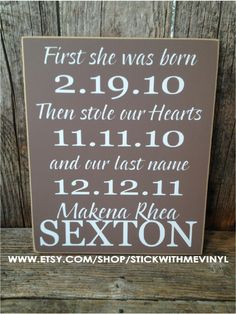the perfect ADOPTION sign first she was born by stickwithmevinyl