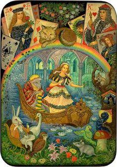 Vera Smirnova, Palekh Russian Lacquer box - Alice in Wonderland