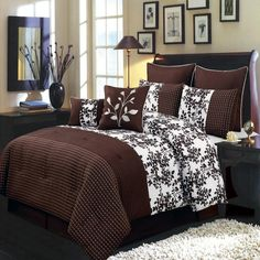 Luxurious CAL KING Size 8 Piece CHOCOLATE BLISS Comforter Set with Comforter, Pillow Shams, Decorative Pillows, Bed Skirt, Color Style Chocolate and White: Amazon.ca: Home & Kitchen