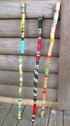 """Painted Walking Sticks"" Beplak je wandelstok met washi tape buy at www. Wooden Walking Sticks, Walking Sticks And Canes, Walking Canes, Painted Driftwood, Driftwood Art, Painted Bamboo, Spirit Sticks, Deco Nature, Stick Art"
