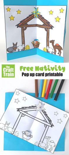 Free printable nativity card pop up craft for kids. Print and colour, then cout out the baby Jesus and star so that they pop-up. A fun religious Christmas craft idea for kids #nativitycrafts #kidscrafts #religiouscrafts #thecrafttrain