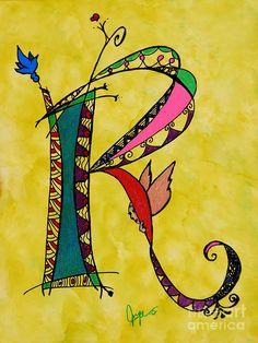 Ink Painting - r Monogram by Joyce Auteri Caligraphy Alphabet, Hand Lettering Alphabet, Doodle Lettering, Alphabet Art, Creative Lettering, Calligraphy Letters, Letter Art, Lettering Design, Rock And Roll
