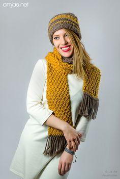 Chunky knitted Scarf & Beanie/Boho Style by amjas.net