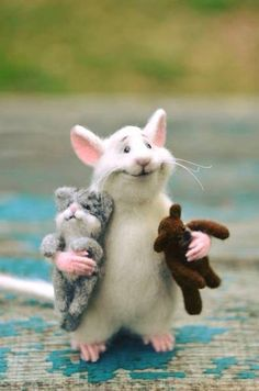 MADE TO ORDER! Rat and cat Rat with fingers Rat and bear White rat Felt rat Doll Cute rat Cute mouse Rat and bear Mouse with fingers Cat Rat - Filzen - Katzen Needle Felted Animals, Felt Animals, Needle Felting, Baby Animals, Funny Animals, Cute Animals, Rats Mignon, Cute Rats, Felt Mouse