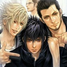 Noctis, Prompto, Gladiolus, and Ignis. Final Fantasy XV