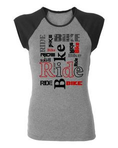 Women's Bicycle T-shirt-BIKE RIDE-Ribbed Cap Sleeve Heather Shirt-Road Bike, Mountain Bike Tee