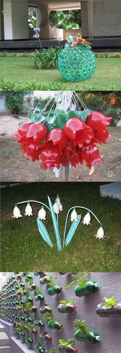 Пластиковые бутылки в ландшафтном дизайне