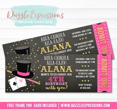 Printable Magic Show Chalkboard Ticket Birthday Invitation | Girls Pink and Gold Magician Party | For a Birthday or Any Event | Magic Party | Digital File | Kids Birthday Party Idea | Abra Cadabra | Card Tricks | Magic Wand | FREE thank you card | Party Package Available |  Banner | Cupcake Toppers | Favor Tag | Food and Drink Labels | Signs |  Candy Bar Wrapper | www.dazzleexpressions.com