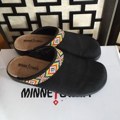 Minnetonka suede and beaded mules This is an older style but they are in very good used condition. Black suede with bright beaded trim. These are not super heavy as some styles like this. Very comfortable. Minnetonka Shoes Mules & Clogs
