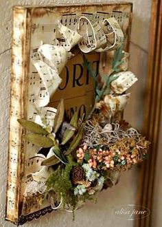 A beautiful altered canvas with sheet music, faux greenery and a birds nest. As seen on Life is a Beautiful Place To Be. What I'm going to do with my leftover wood SU blocks!Exploding Canvas - cool idea for a vinyl sign this shadow box would look fab Mixed Media Collage, Mixed Media Canvas, Collage Art, Altered Books, Altered Art, Altered Tins, Paper Art, Paper Crafts, Canvas Crafts