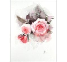 Garden Roses  Original Watercolor Painting 9x12 by CMwatercolors