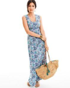 Soleil Maxi Dress - lovely blue/aqua paisley pattern on this maxi dress