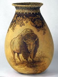 Fine Gourd Art by Judy Richie. I'm not usually into buffalo art, but this piece is stunning.