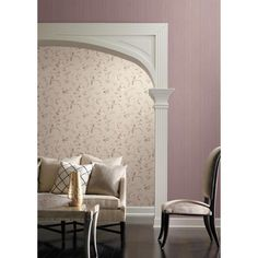 Purple scroll wallpaper from Riverside by York Wallcoverings. Wallcoverings For Less: Great Wallpaper Designs for Bedrooms and Livingrooms Wallpaper Design For Bedroom, Designer Wallpaper, Wallpaper Designs, Cottage Wallpaper, Riverside Park, Avenue Design, Striped Wallpaper, Accent Chairs, House Design