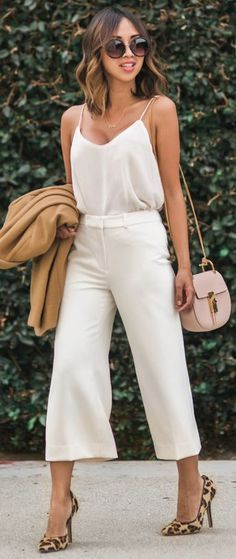 Lace & Locks Camel Blazer On White Cami And Culottes Fall  @roressclothes closet ideas #women fashion outfit #clothing style apparel