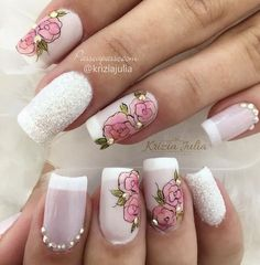 Nail art is one of the hot trends in the world of Pink Acrylic Nails, Acrylic Nail Designs, Pink Nails, Nail Art Designs, Bridal Nail Art, Studded Nails, Wedding Nails Design, Flower Nails, French Nails