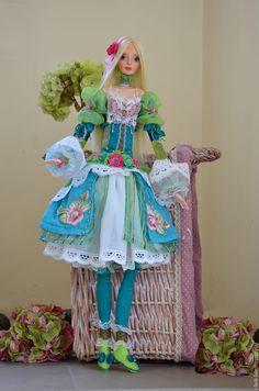 """Купить Авторская коллекционная кукла """"Милена"""" для интерьера - салатовый, авторская кукла, интерьерная кукла"""