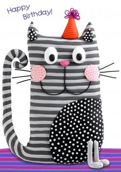 Birthday card - stripey cat