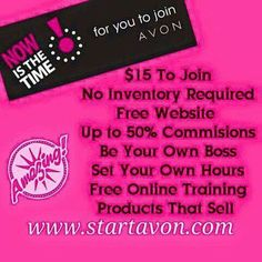 Limited time only $ 15 to join!  FREE website!  No quotas ! No parties ! Sell in person or online!  Check out Avon's amazing products at a discount! www.startavon.com Use code sdittmann #Avon #startavon #workfromhome #extraincome #startyourownbusiness #familybusiness #startavon #sellavon #flexibleschedule #beyondbeautybiz