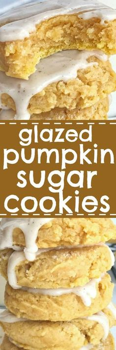 Glazed pumpkin sugar cookies are the best way to enjoy pumpkin spice and Fall flavors! Soft-baked & thick pumpkin sugar cookies are topped with an easy pumpkin spice glaze. Try just eating one of these delicious sugar cookies. The perfect Fall dessert rec Pumpkin Sugar Cookies, Pumpkin Dessert, Sugar Cookies Recipe, Cookies Vegan, Icing Recipe, Baked Pumpkin, Pumpkin Recipes, Pumpkin Spice, Pumpkin Pumpkin