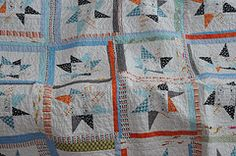a wonky star quilt made with heather ross goldfish fabric for my 6 year old son