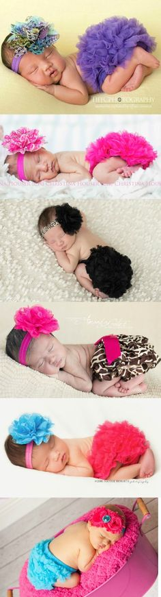 Must have baby bloomer and headband sets. Pin for later.