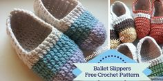 Free pattern for crochet ballet slippers at http://poochie-baby.com