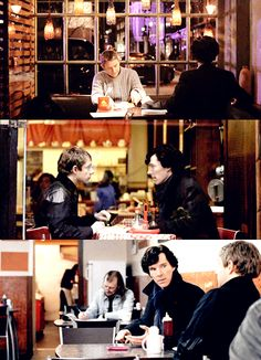I love that they're always going out to eat even though it's only John eating. I love that consistency in the characters and their friendship, that Sherlock never eats during a case, but will take the time to sit there while John does.