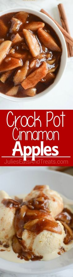 Crock Pot Cinnamon Apples – easy and delicious spiced apples! Perfect served with ice cream, on pancakes, or eaten with a spoon!