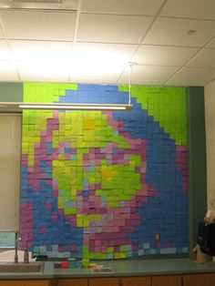 Mona Lisa in post-it notes!!! Made by 8th grade art students.