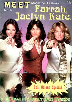 MEET  POSTER MAGAZINE - FARRAH, JACLYN, KATE - CHARLIES ANGELS