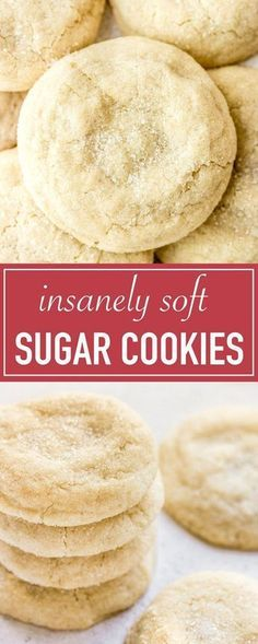 The best pillowy soft and chewy sugar cookie recipe! They taste just like childhood with a super soft, melt in your mouth texture. Great for the holidays!