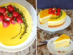 beautiful cake with passionfruit and white chocolate mouse