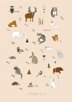 Everywhere you go – animal footprint poster  #illustration #larabispinck #larabispinckillustration #sketch #animals #footprints #bear #moose #squirrel #bird #mouse #raccoon #duck #poster #decoration #print #paperstuff #lovely #aztec #pattern #aztecpattern #trinagular