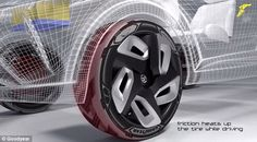 Forget charging stations, this TYRE could soon power your electric car as you drive | Goodyear's concept BH03 (illustrated) was unveiled at the Geneva International Motor Show. It uses thermo-piezoelectric materials to convert heat into energy from sunlight or as the tyre rolls. [Electric Cars: http://futuristicnews.com/tag/electirc-vehicle/]