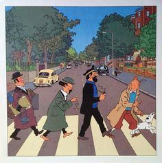 "Tintin and the gang do ""Abbey Road"" of the Beatles (By Yves Rodier) Abbey Road, Comics Und Cartoons, Bd Comics, Comic Movies, Comic Books, Les Beatles, Pop Rock, Graphic Illustration, Graphic Art"