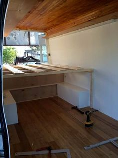 Good simple conversion example. I like the open area under the bed for storage. Would eliminate some cabinet building and reduce weight.