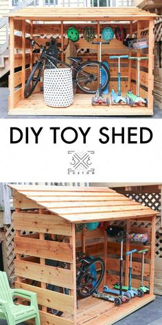 3 Custom DIY bike shed shed ideas - Ruth Fer., 3 × 3 Custom DIY bike shed shed ideas - Ruth Fer., 3 × 3 Custom DIY bike shed shed ideas - Ruth Fer., DIY Bike Shed Outdoor Toys For Kids, Backyard For Kids, Diy Backyard Ideas, Outdoor Play Spaces, Backyard Playground, Diy Ideas, Wood Ideas, Backyard Play Areas, Inexpensive Backyard Ideas