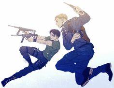 Erwin and Levi / Artist: Attack On Titan Ships, Attack On Titan Fanart, Attack On Titan Levi, Anime Guys, Manga Anime, Anime Art, Levi And Erwin, Attack On Titan Aesthetic, Eruri