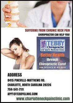 Neck pain is a very common problem and neck pain come from an auto injury, whiplash, sports injury, poor posture, prolonged working sitting hours etc. Alan Tebby is a highly qualified chiropractor who uses popular healthcare approach and most innovative techniques for Neck Pain. For more info call on 704-541-7111or visit at www.charlotteneckpainclinic.com
