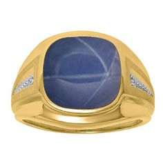 Diamond and Blue Star Sapphire Men's Large Ring In Yellow Gold Father's Day 2015 Unique Jewelry Gift Presents and Ideas. Gemologica.com offers a large selection of rings, bracelets, necklaces, pendants and earrings crafted in 10K, 14K and 18K yellow, rose and white gold and sterling silver for that special dad. Our complete collection and sale of personalized and custom gifts for dad: www.gemologica.com/mens-jewelry-c-28.html