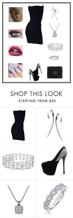 """""""Untitled # 177"""" by binasa87 ❤ liked on Polyvore featuring Thierry Mugler, Shaun Leane, David Yurman, Karl Lagerfeld and Alexander McQueen"""
