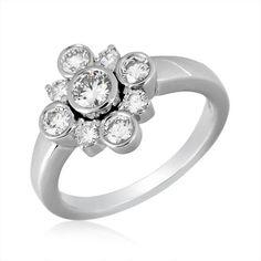 Kwiat 18 Karat White Gold Diamond Bezel Set Cluster Ring