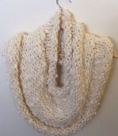 Chunky knit white caplet/ snood scarf on Etsy, $38.00