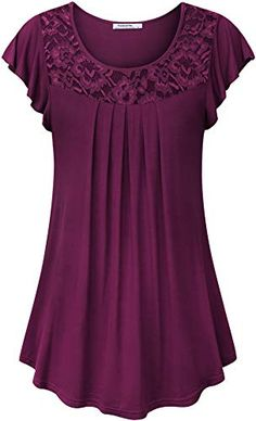 Ladies Solid Tops Plain Shirt Lace Patchwork Ruched Short Sleeve Blouse for Women Plus Size Tops, Short Sleeve Blouse, Blouse Designs, Blouses For Women, Plus Size Fashion, Fashion Dresses, Fashion 2018, Tunic Tops, Outfits