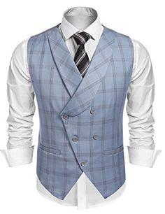 Coofandy Men's Plaid Slim Fit Double Breasted Dress Suit Button Down Vest Waistcoat,Gray,Small Waistcoat Men, Mens Suit Vest, Plaid Suit, Waistcoat Designs, Indian Men Fashion, Mens Fashion Suits, Mens Tailored Suits, Double Breasted Waistcoat, Mode Man