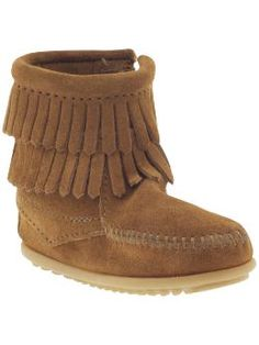 Minnetonka Moccasin Side Zip Double Fringe Boot (Infant/Toddler/Youth) | Piperlime